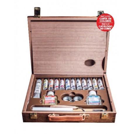 Caja de madera óleos extrafino 12