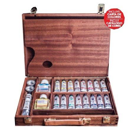 Caja de madera óleos extrafino 17