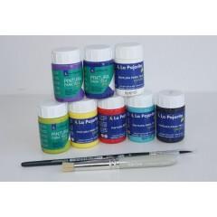 Surtido 8 colores Pintura para Tela + Pincel