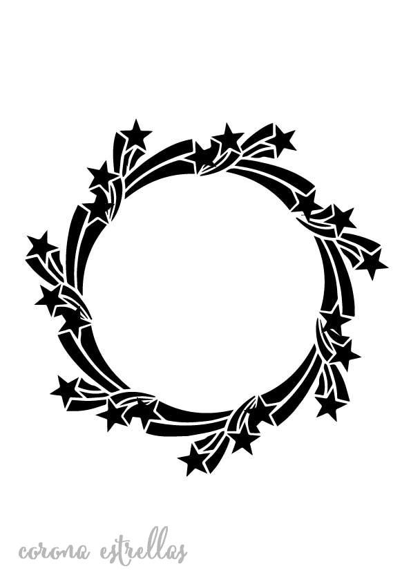 Stencil plantilla corona estrellas