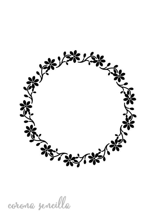Stencil plantilla corona flores sencilla