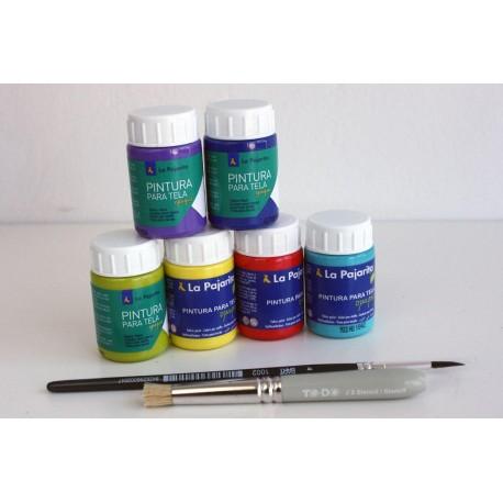Surtido 6 colores Pintura para Tela + Pincel