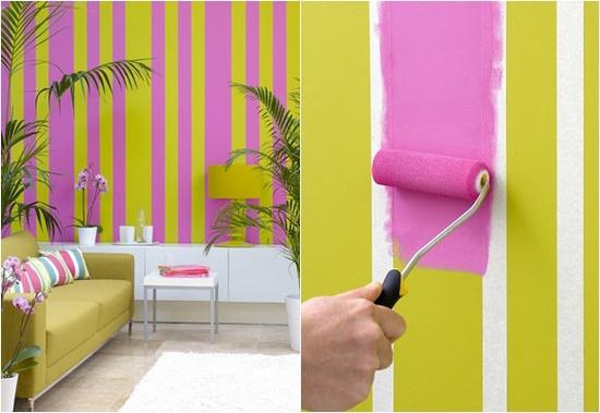 De qu color pintar cada habitaci n - Habitaciones pintadas con rayas ...