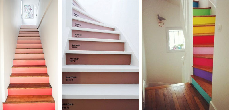 Ideas para escaleras con estilo originales y divertidas for De que color para un pasillo con escaleras