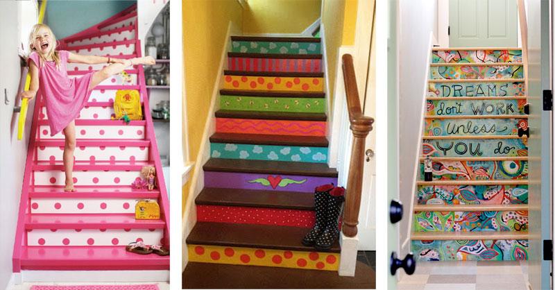 Ideas para escaleras con estilo originales y divertidas for Pintar paredes ideas originales