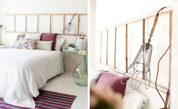 5 ideas para reciclar una vieja escalera for Cabecero cama diy