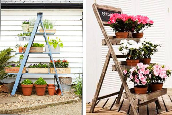 5 ideas para reciclar una vieja escalera - Escaleras para jardin ...