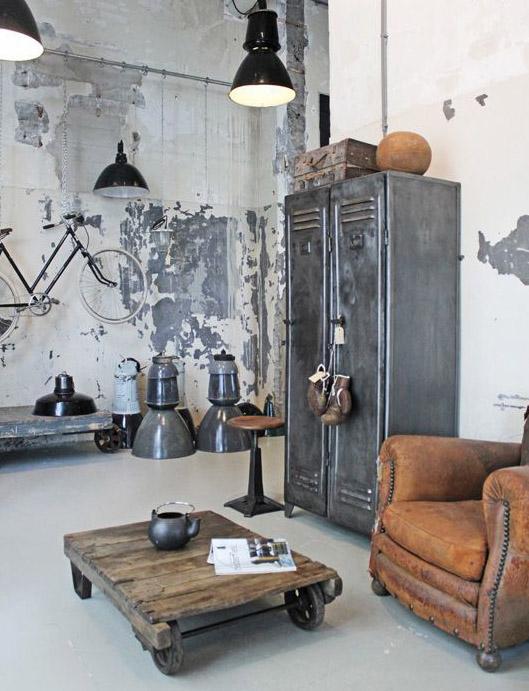 Decoracion Industrial Paredes ~   paredes de ladrillo, suelos y techos de hormig?n, y para los muebles