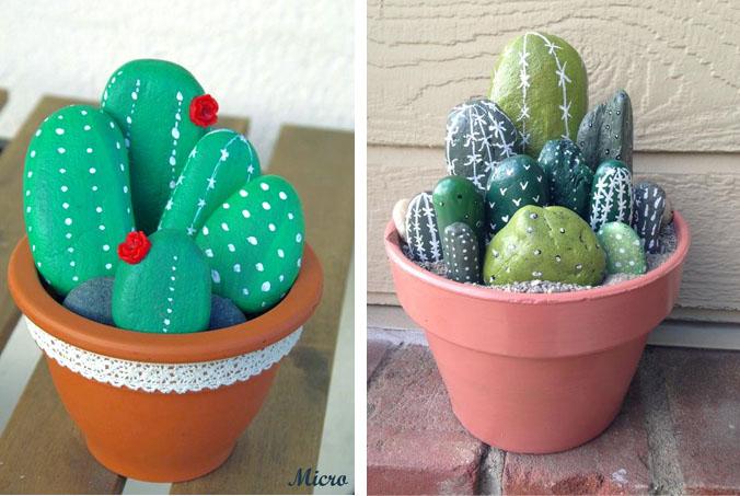 c mo pintar piedras que parecen cactus