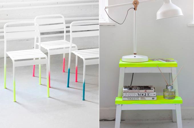 muebles pintados colores flúor