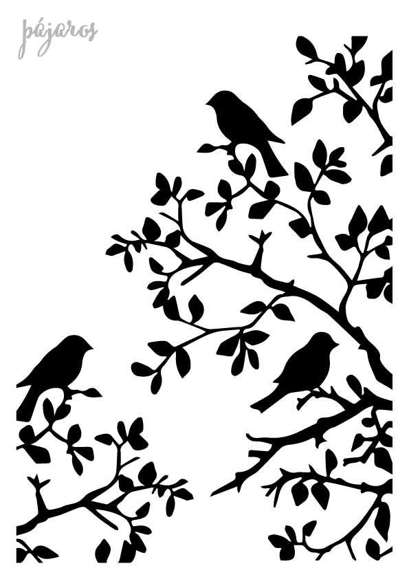 Stencil plantilla pájaros rama