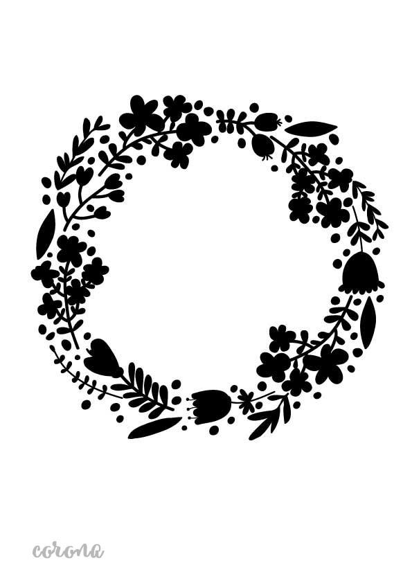 Stencil plantilla corona flores