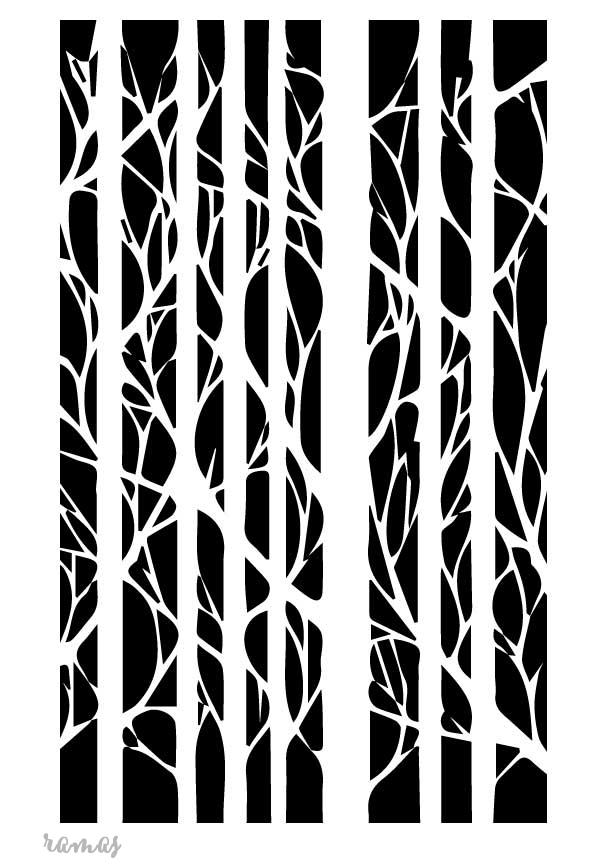 Stencil plantilla ramas