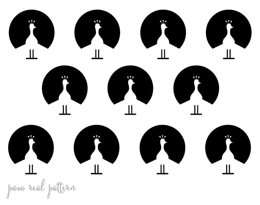 Stencil plantilla pattern pavo real
